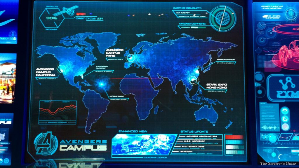 A map showing locations of Avengers Campuses around the world.