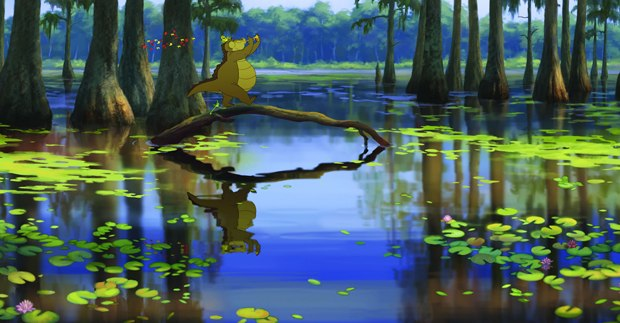 Louis going don the Bayou in Princess and Frog
